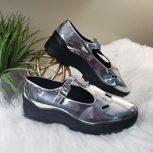 ASOS | 7 Silver mirror chunky Mary Jane shoes